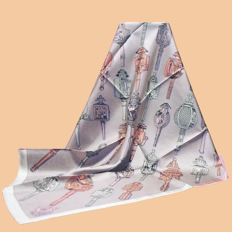 "HuaJun 2 Store|| Intellectual Woman Pink Violet ""Merveilleuses Lanternes"" 90 Silk Square Scarf Twill Inkjet Scarf"