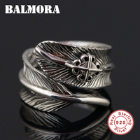 BALMORA 100 Real 925 Sterling Silver Vintage Feather Opening Rings For Women Men Party Gifts Resizable