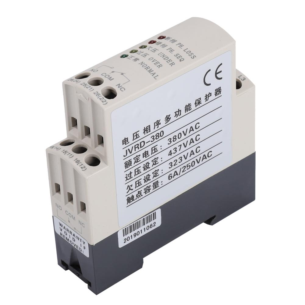 Elevators 35 mm Guide Rail Assembly Cranes Machine Tools 380VAC 50Hz Three-Phase Voltage Monitoring Relay for Pumps Phase Sequence Protector Relay