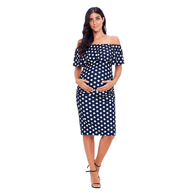 Polka Dot Ruffles Off Shoulder Maternity Dress
