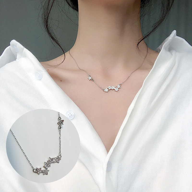 Модные крошечные изысканные ожерелья для женщин, ювелирные изделия, многослойные подвески с Луной и звездой, серебряный цвет, колье с крестом, этнический подарок для девушки - Окраска металла: stars