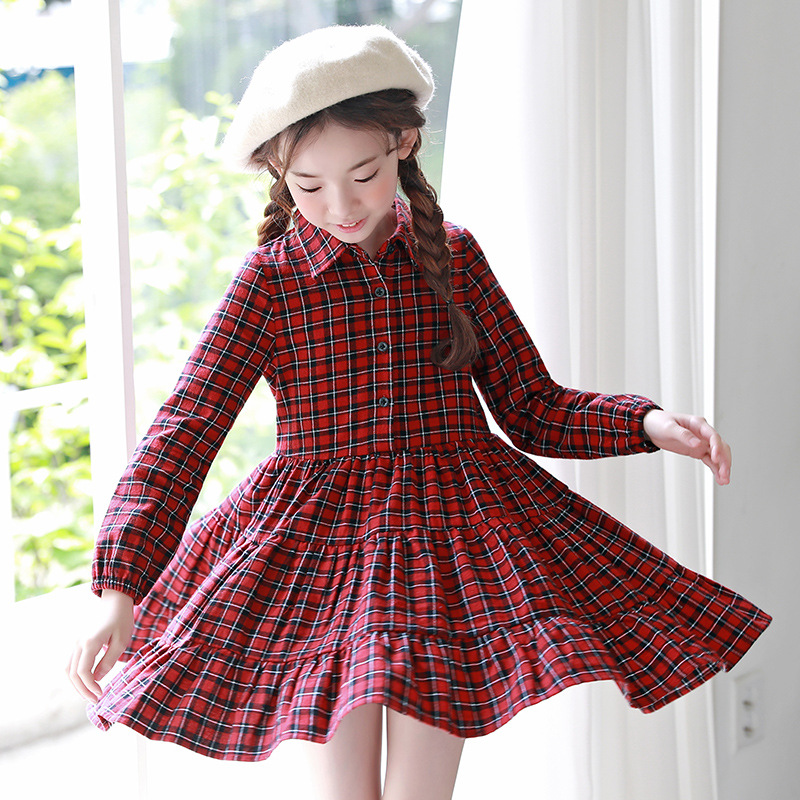Girl Plaid Dress Kids New Spring Girls Dress Long Sleeved Girl Princess Teenager Children Cotton Shirt Dress Kids Clothes CA144 long sleeve button down plaid midi flannel shirt dress