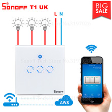 Itead Sonoff T1 UK Wifi Wall Touch Switch Wireless Remote Light Relay App Control Wifi Smart Switch Works with Alexa Google Home cheap All Compatible Ready-to-Go Sonoff T1 UK 1 2 3 Gang 90-250v AC(50 60Hz) 2A 250V Gang 600W gang 86mm*86mm*32mm 2 4GHZ 802 11 b g n 433MHz RF