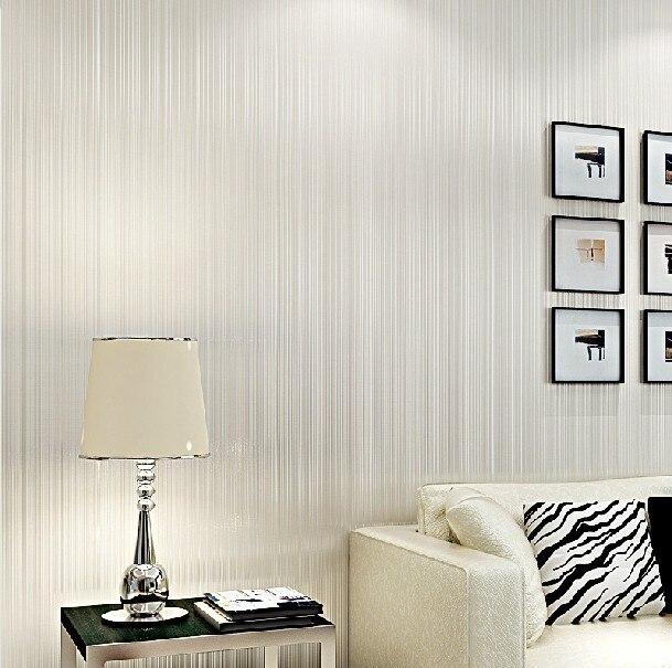 ФОТО Modern Cream White Wallpaper Roll Gray papel de parede listrado
