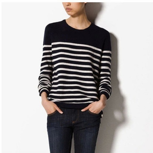 Donna Fashion Brand Women Black White Striped Pullover Slim Knitted
