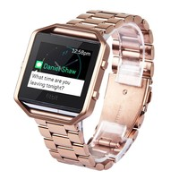 V-moro Newest Fashion Gift Stailess Steel Watch Band For Fitbit Blaze Strap With Metal Frame House 2 in 1 For Fitbit Blaze Band