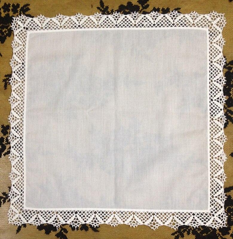 Set Of 12 Fashion Ladies Handkerchiefs 12-inch White Cotton Wedding Handkerchief Embroidered Lace Edging Hankies Hanky For Bride