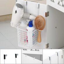 Металлическая корзина для хранения на двери, практичный органайзер для кухонного шкафа, дверная вешалка, корзина для хранения с держателем для фена