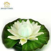 BRIGHTINWD 2018 New LED Colorful Hair Lotus Flower Water Lamp Floating Water Battery Box For Buddha Wish Blessing Lotus Lamp
