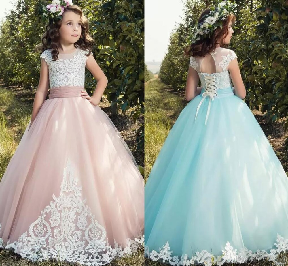 2019 New Little   Girls   First Communion   Dress   Birthday Pageant   Dresses   with Sweep Train   Flower     Girls     Dress   for Wedding