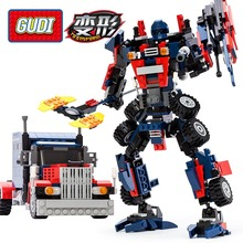 377pcs Gudi Transform Series Optimus Prime Transformation Robot Car Big Truck Building Block Model Toy Compatible With Legoes