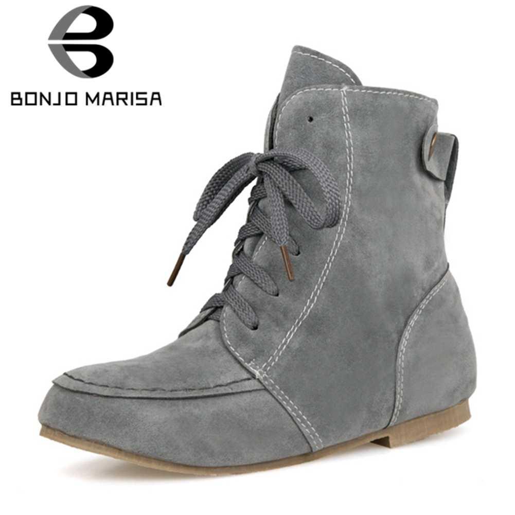 BONJOMARISA 2019 Sonbahar Kış Sıcak Satış Artı Boyutu 33-46 Kadın Düz yarım çizmeler dantel kadar Dikiş Eklemek Kürk çizmeler kadın ayakkabısı Kadın