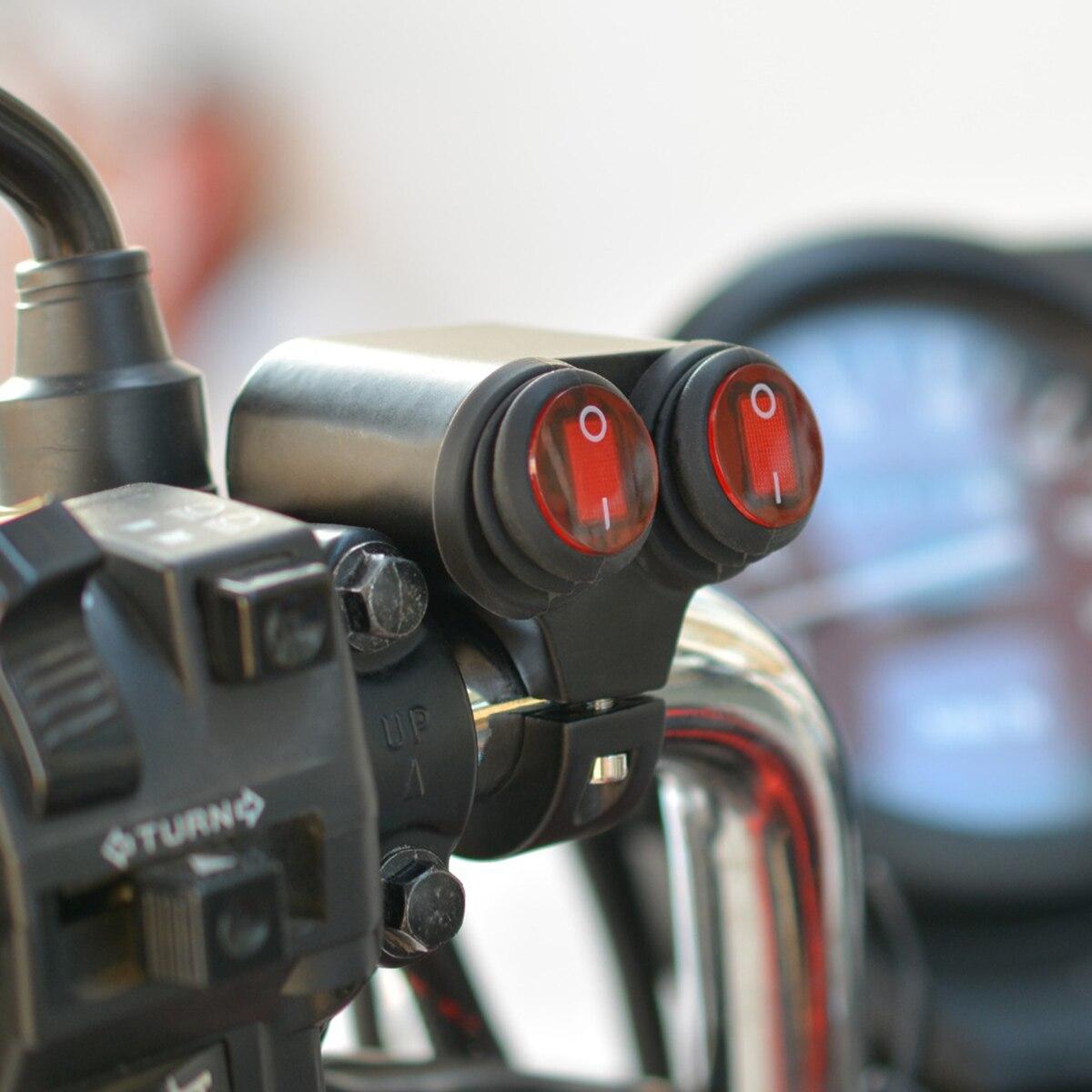 1 pc a prova d agua 7 8 polegada da motocicleta guiador farol on off led