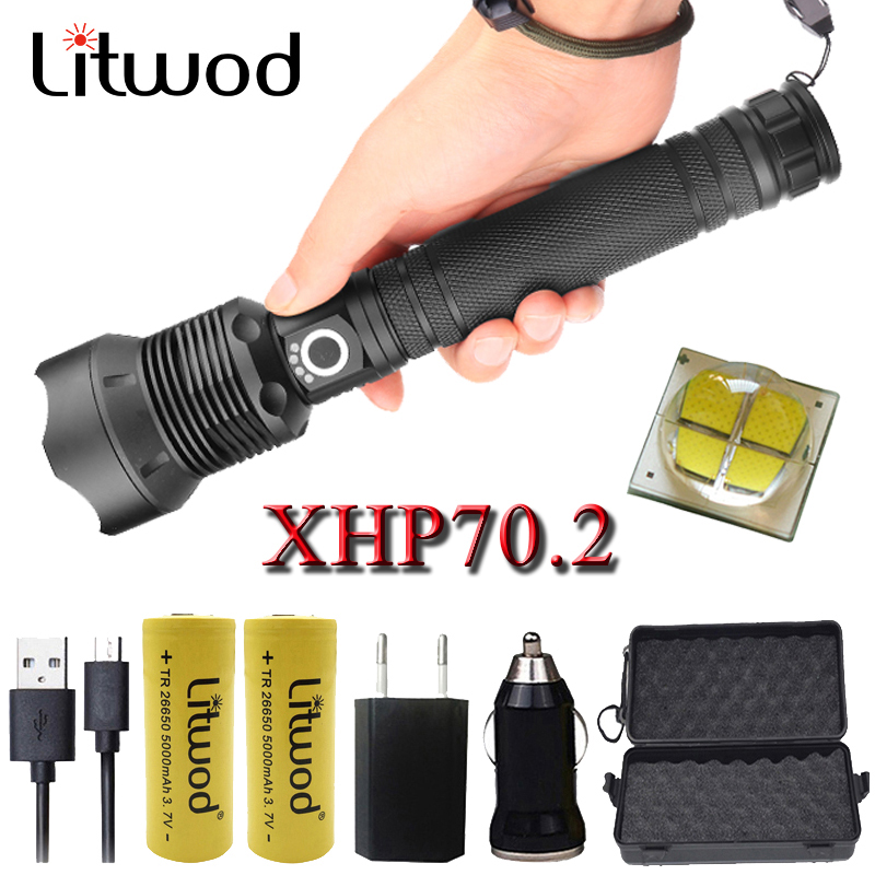 Litwod Z201282 50000 Lumens Lamp XHP70.2 Powerful Flashlight Micro USB Zoom Led Torch XM-L2 U3 18650 Or 26650 Battery Camping