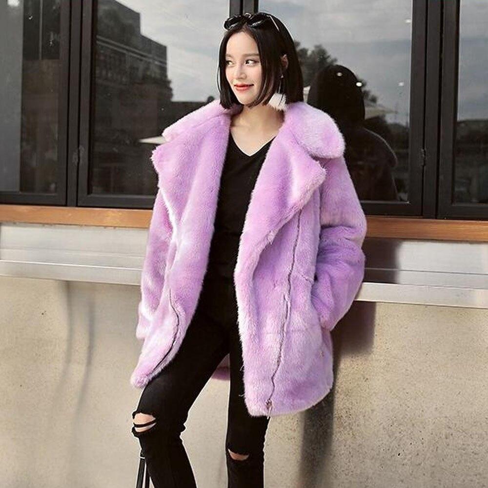 Fourrure Fausse 3 Chaud Long purple Faux pink Shaggy Survêtement down Col Couleur Vison Longue Turn Poilu Manteau Poches Gray En Top Hiver Élégant Femmes HZtnwqEZ