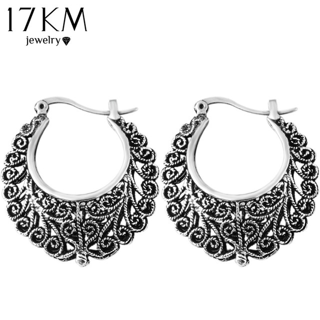 17KM Brand Retro Antique Tibet Silver Color Flower Earrings Hollow Vintage Brinc