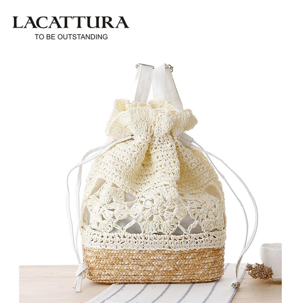 LACATTURA 2017 Drawstring Crochet Straw beach bags Floral Pattern ...