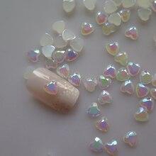 100 шт милый 6 мм дизайн ногтей белый AB сердце смолы Стразы Украшения Ногтей