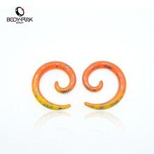 BODY PUNK 1 Pcs Orange Stud Earrings Gauge Acrylic Carved Snail Spiral Taper Ear Plugs Body Piercing Jewelry 3mm-12mm SPA
