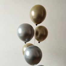 Gold metal baloons 50pcs/lot 10inch double latex silver balloon party favors decoration babyshower wedding globos anniversaire
