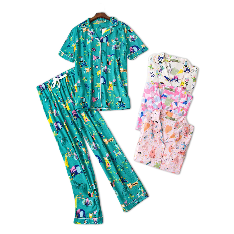 Cute cartoon 100% cotton   pajama     sets   women short sleeve trousers Plus size sexy knitted cotton simple homewear pyjamas for women