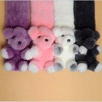 Baby's Hat Scarf Autumn Winter Real Rex Rabbit Fur Scarves Children Boy girls Natural Genuine Fur Scarf Lovely Bear Shawl Caps