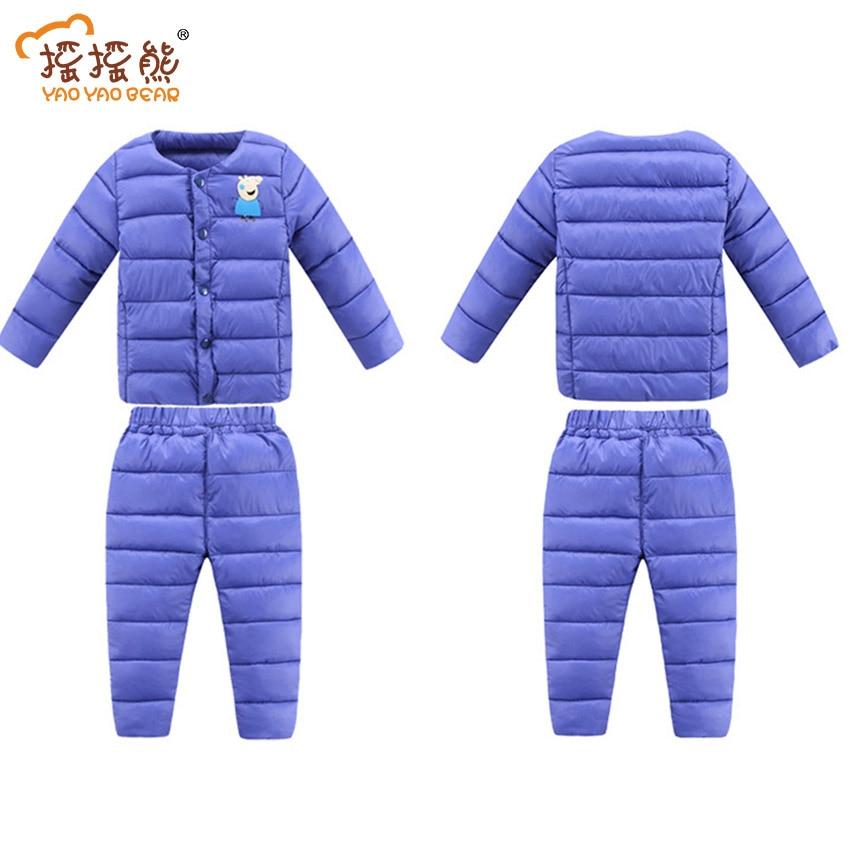 Russian Winter ! New 2016 Baby Boy Winter Children Girls Down Coats Set Clothing Children's Winter Jacket Pants for Girls Boys