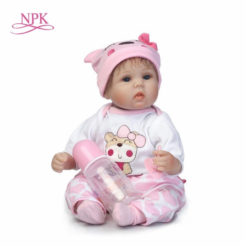 NPK Boneca Reborn 18inch Soft Silicone Vinyl Dolls really Soft Silicone Reborn Baby Doll Newborn Lifelike