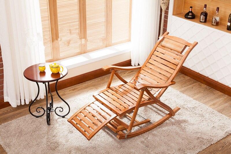 Modern Foldadble Bamboo Rocking Chair Recliner with Ottoman Indoor/Outdoor Lounge Deck Chair Bamboo Furniture Reclining Rocker  цены