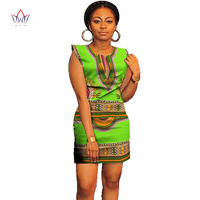 Women Summer Dress Casual 2017 Short Ladies Sexy African Dresses Dashiki for Women Traditional Print Mini Africa Clothing WY337
