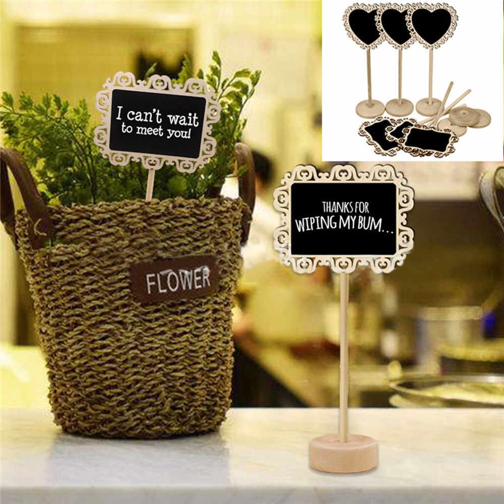 Mini Small Wooden Chalk Blackboard Wedding Kitchen Restaurant Signs Chalkboard Writing  Message Paint Plant label z0320