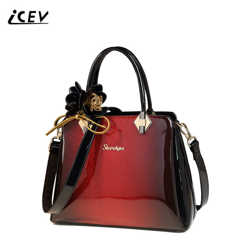 ICEV New Fashion Luxury Designer High-end Patent Leather Bag Handbags Women Famous Brands Flower Panelled Women Leather Handbags icev new brands simple classic female cow leather designer handbags high quality genuine leather handbags women leather handbags