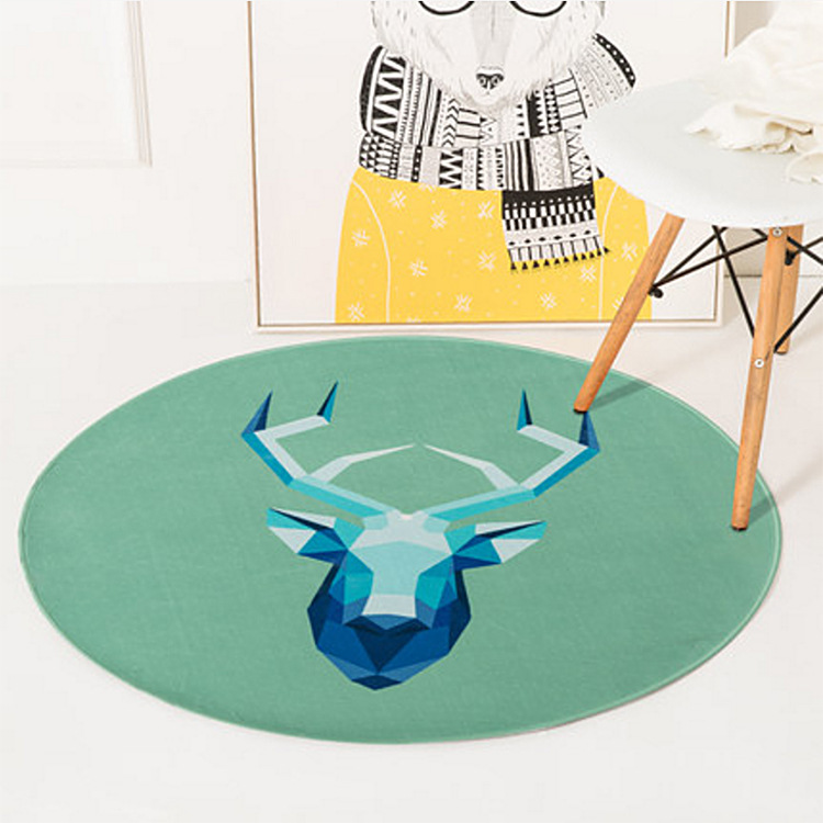 LOUTASI Round Carpet Lion Printed Soft Carpets Anti-slip Rugs Crystal velvet Computer Chair Mat Floor Mat for Home Kids Room