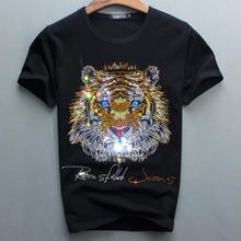 Роскошный дизайн инструмент для прикрепления алмазов хлопок Для мужчин s футболки дизайнерские Для мужчин футболка
