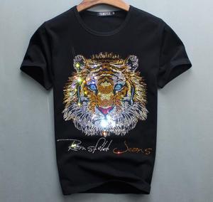 Image 1 - Роскошный дизайн бриллиантов, 100% хлопок, мужские футболки, дизайнерская мужская футболка