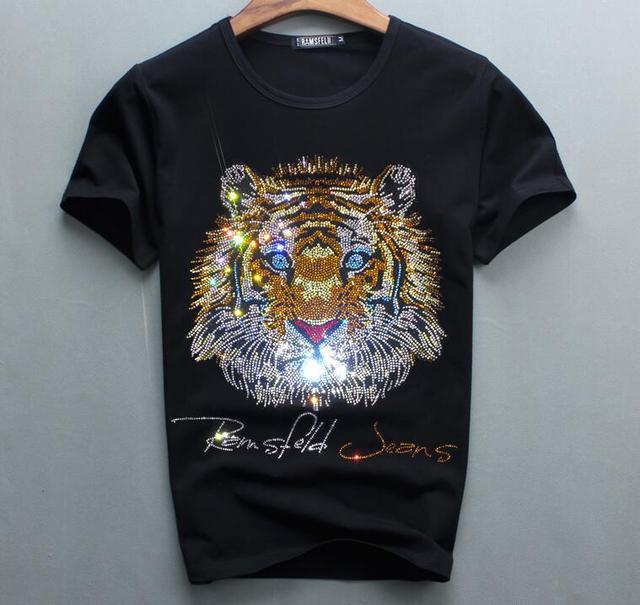 Роскошный дизайн бриллиантов, 100% хлопок, мужские футболки, дизайнерская мужская футболка