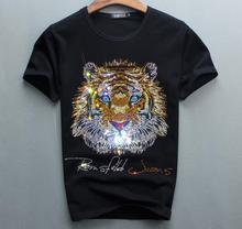 Design de luxo de diamantes 100% algodão masculino camiseta designer tshirt