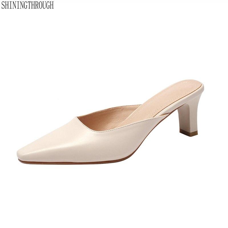 Zapatillas de mujer mulas elegante fiesta puntiagudos zapatos de verano de cuero genuino al aire libre tacones altos zapatillas-in Zapatillas from zapatos    1