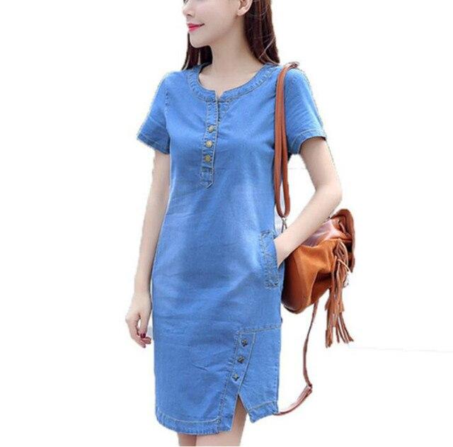 Корейские джинсовые платье для женщин Новинка летние повседневные джинсы с кнопками больших размеров Сарафаны Vestido feminino