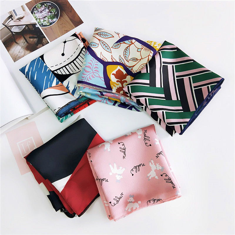 2019 Square Scarf Hair Tie Band Women Elegant Small Vintage Skinny Scarf Retro Head Neck Silk Scarf, Square Scarves Foulard