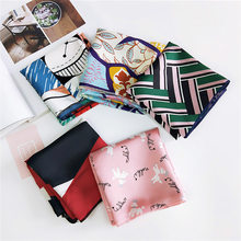 2019 Square Scarf Hair Tie Band Women Elegant Small Vintage Skinny scarf Retro Head Neck Silk Scarf, square scarves foulard(China)