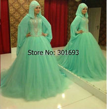Oumeiya OW522 Green Tulle Ball Gown Hijab High Neck Long Sleeve Muslim Bridal Dress 2016