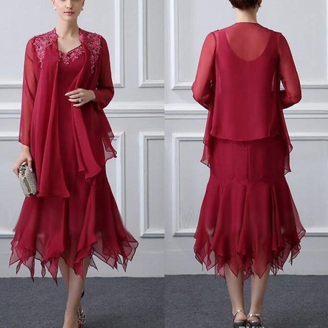 Women's 2 Pieces Burgundy Chiffon With Lace Applique Mother Of The Bride Dress Plus Size Vestido Madrina