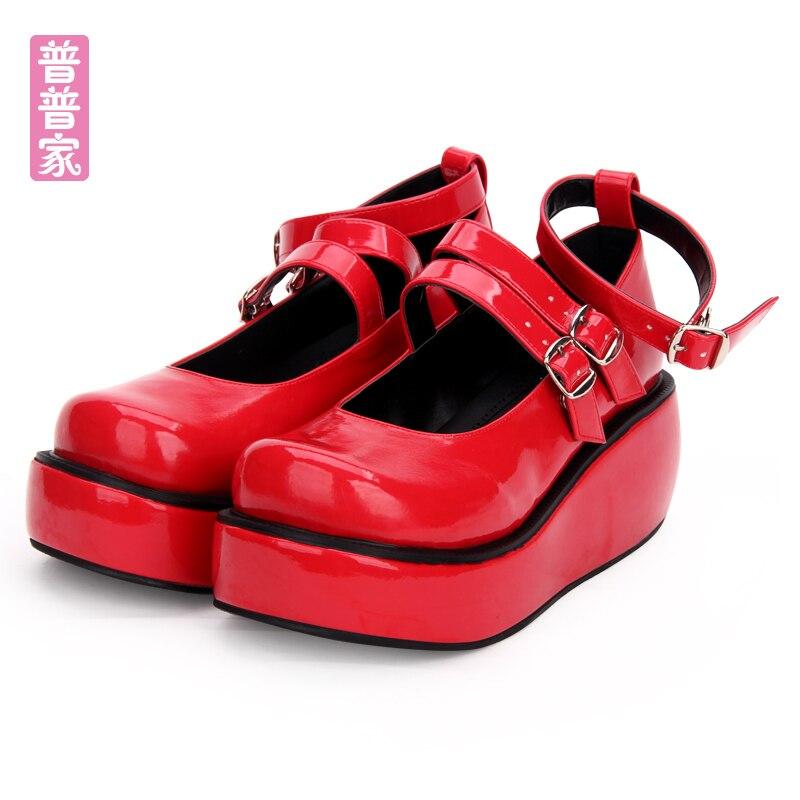 Japonais Sœur De Mode Lolita Ronde Noir Étudiants rouge Épais Muffin Pu9633 Douce Tête Chaussures Belle Doux Princesse wz1Y5I