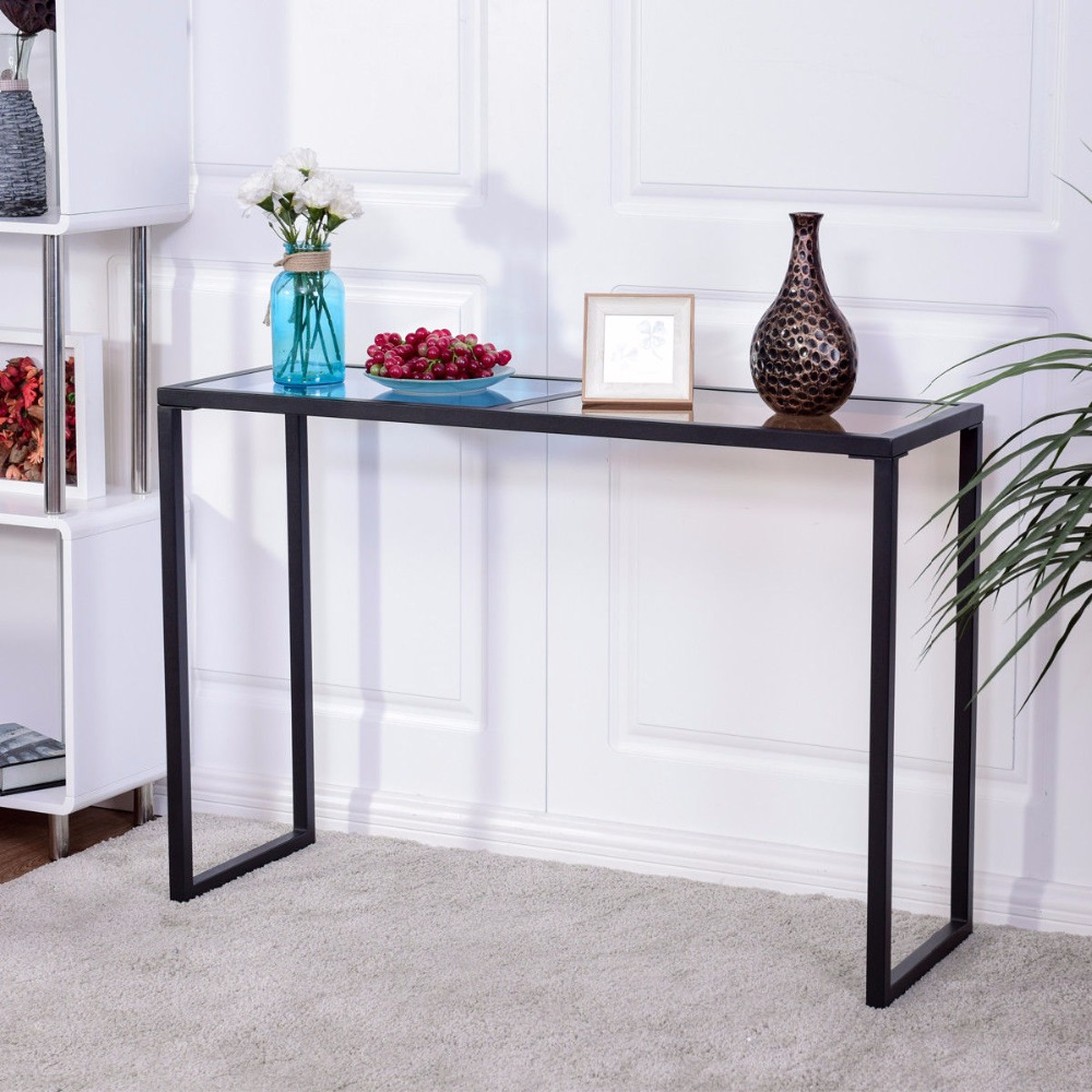 Giantex Console Table Tempered Glass Top Metal Frame