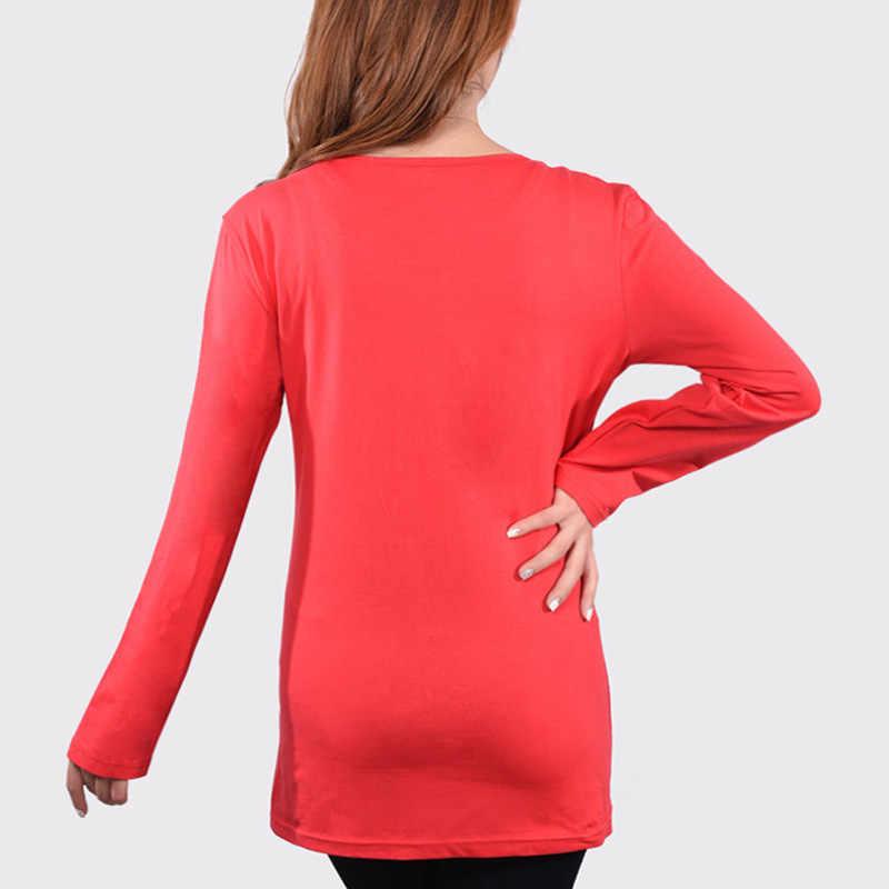 С длинным рукавом Средства ухода за кожей для будущих мам смешные детские выглядывает футболки черный, Красный беременных Для женщин Футболки 100% одежда из хлопка Беременность Костюмы