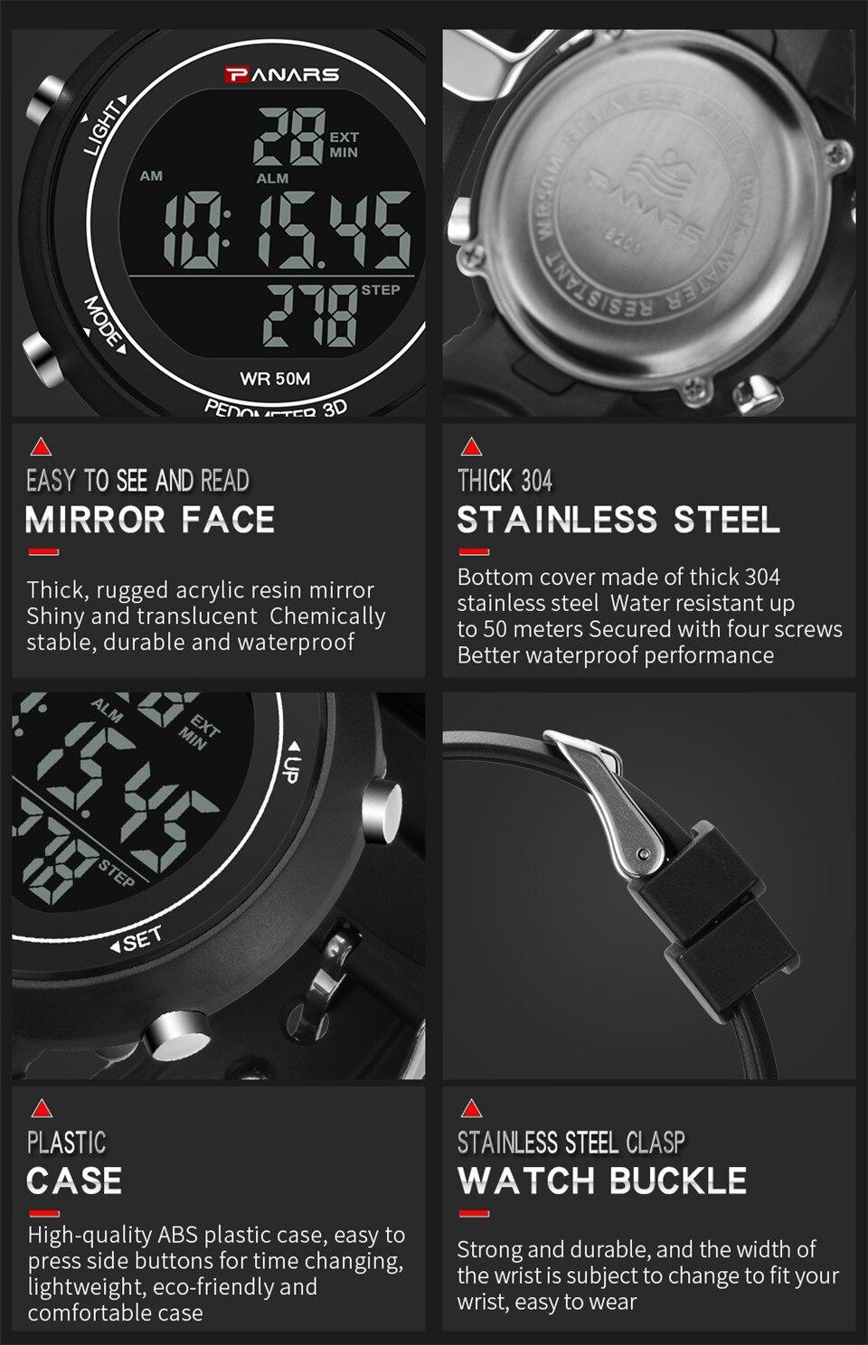 Pedometer Watch Clock Woman Waterproof 50M Outdoor Digital Sports Watch Women Simple Small Bracelet Hand Wrist Watches Hour gift (9)