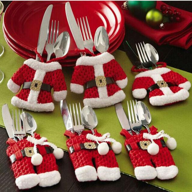 Houspace 6 Sztuk Christmas Xmas Nowy Rok Santa Srebra Posiadacze Dekoracje Na Boże Narodzenie Kieszenie Dinner Decor 3 Ubrania i 3 Spodnie