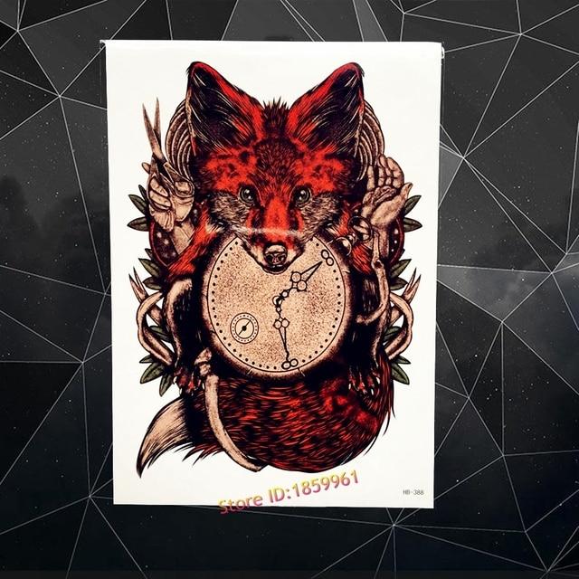 464b8604fc6 Relógio Exclusivo Raposa Vermelha Etiqueta Do Tatuagem Temporária à prova  d  água Para Os Homens