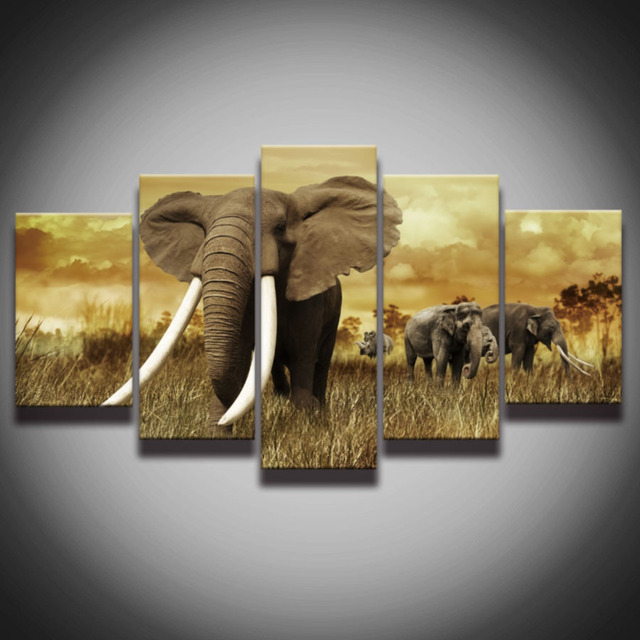 Printed African Elephant Picture Hang Painting Canvas Art Frames 5 Panels  Sunset Landscape Wall Decor For